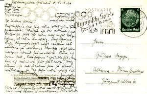 Private Postkarte vom 13. August 1936 aus Berlin