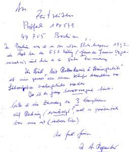 Brief des Autors an den Verlag