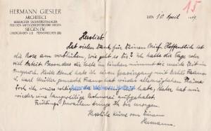 Brief Hermann Giesler 1919